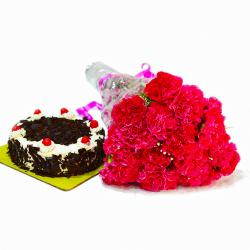 Fresh 20 Pink Carnations with Half Kg Black Forest Cake for Lucknow