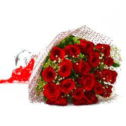 Fresh 25 Red Roses Hand Bunch for Bhopal