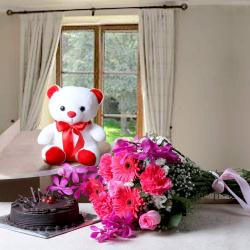 Fresh Flowers Bouquet with Cake and Teddy for Cuttack