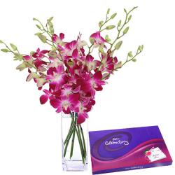 Fresh Orchids With Celebration Chocolate Pack for Lucknow