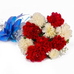 Fresh Red and White Carnations Bouquet for Kolkata
