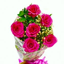Fresh Six Pink Roses Bunch for Noida