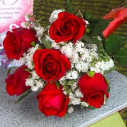 Fresh Six Red Roses Bouquet for Ghaziabad