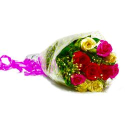 Fresh Ten Colorful Roses Bunch for Hyderabad