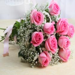 Fresh Ten Pink Roses Bouquet for Ghaziabad