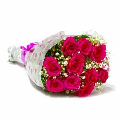 Fresh Ten Pink Roses Bunch for Delhi