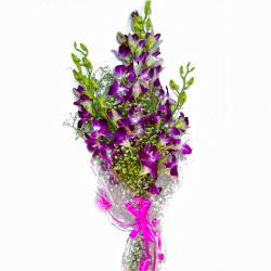 Fresh Ten Purple Orchids Bunch for Delhi