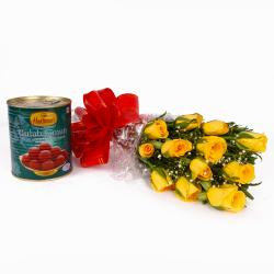 Fresh Twelve Yellow Roses Bouquet with Pack of Gulab Jamuns Sweet for Bhopal