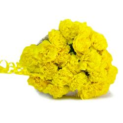 Fresh Twenty Yellow Carnations Bouquet for Hyderabad