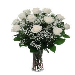 Fresh White Roses In Vase for Hyderabad
