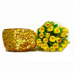Friendship Yellow Roses Bouquet with Assorted Dry fruits for Kolkata