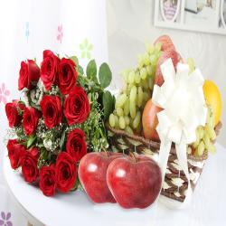 Fruit Basket with Red Roses Bouquet