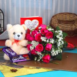 Fruit n Nut Chocolate with Teddy Bear and Roses Bouquet for Jaipur