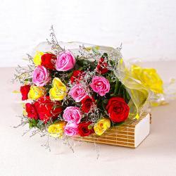 Garden Fresh Twenty Colorful Roses Bunch for North Goa