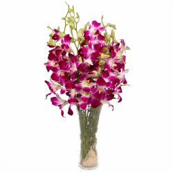 Glass Vase of 10 Purple Orchids for Moradabad