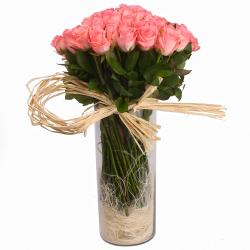 Glass Vase of 100 Pink Roses