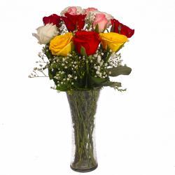 Glass Vase of Dozen Multi Color Roses for Asansol