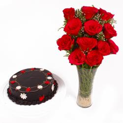 Glass Vase of Dozen Red Roses with Chocolate Cake for Pune