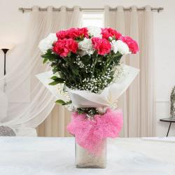 Glass Vase of Mixed Carnations Flowers for Hyderabad