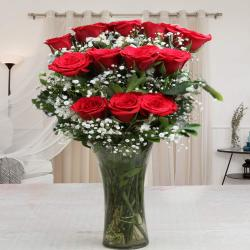 Glass Vase of One Dozen Red Roses for Delhi
