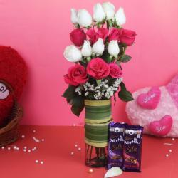 Glass Vase of Pink and White Roses and Chocolates for Belgaum