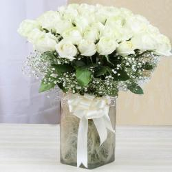 Glass Vase of White Roses