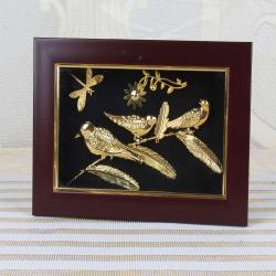 Gold Plated Three Birds with Butterfly Designer Table Top Frame for Asansol