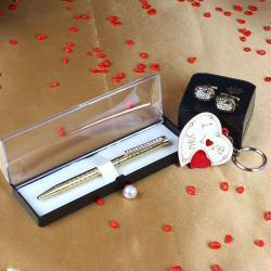 Golden Oval Diamond Cut Cufflinks with Golden Roller Pen and I Love You Key Chain for Gandhinagar