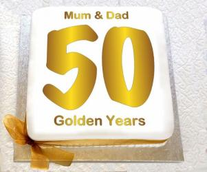 Golden Wedding Anniversary Cake for Jaipur