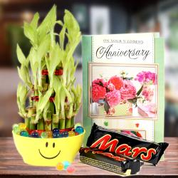 Good Luck Bamboo Plant, Mars Chocolate with Anniversary Card. for Hyderabad