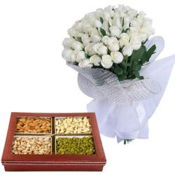 Gorgeous Bunch Of White Roses for Hyderabad