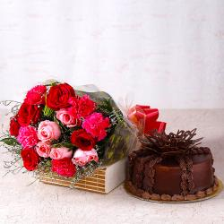 Gorgeous Roses With Carnations and Chocolate Cake