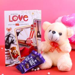 Greeting Card and Teddy Bear with Chocolate for Kanchipuram