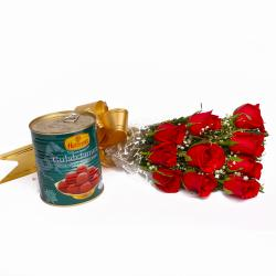 Gulab Jamuns with Fresh Red Roses Combo for Ghaziabad