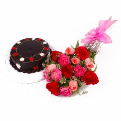 Half Kg Chocolate Cake and Bouquet of Roses and Carnations for Thanjavur