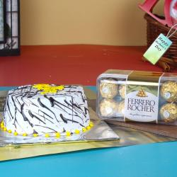 Half Kg Vanilla Cake with 16 Pcs Ferrero Rocher for this Mothers day for Siliguri