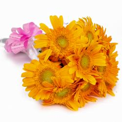 Hand Tied 10 Yellow Gerberas for North Goa