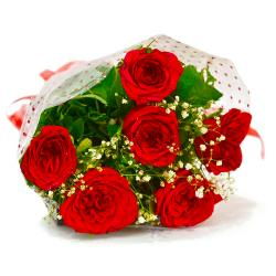 Hand Tied Bouquet of Six Red Roses for Thanjavur