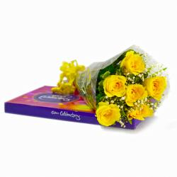 Hand Tied Bunch of 6 Yellow Roses with Celebration Chocolate Box for Noida