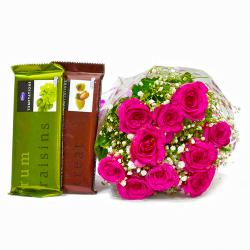 Hand Tied Bunch of Ten Pink Roses and Bars of Temptation Chocolate for Alappuzha