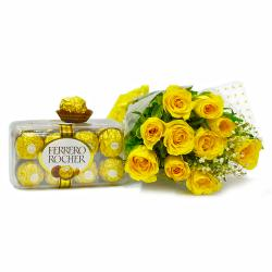 Hand Tied Bunch of Yellow Roses with Ferrero Rocher Imported Chocolate Box for Coimbatore
