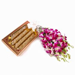 Hand Tied Purple Orchids with Kaju Katli Sweets for Chandigarh