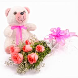 Hand Tied Six Pink Roses and Teddy Bear for Raipur