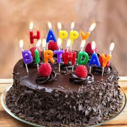Happy Birthday Dark Truffle Chocolate Cake for Manipal