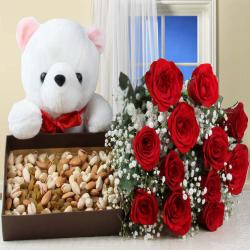 Healthy Dry Fruits Box and Red Roses with Teddy Bear for Moradabad