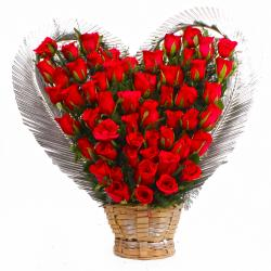Heart Shape Arrangement of Fifty Red Roses for Mumbai