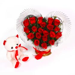 Heart Shape Arrangement of Red Roses with Cute Teddy Bear for Chennai