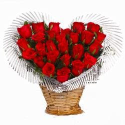 Heart Shape Arrangement of Twenty Five Red Roses for Kolkata