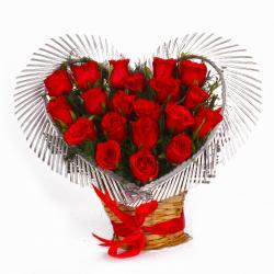 Heart Shape Arrangement of Twenty Red Roses for Chennai