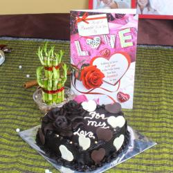 Heart Shape Chocolate Cake with Goodluck Wishes and Love Card for Chennai